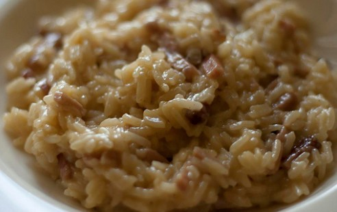 Risotto scamorza, speck e Lapsang Souchong