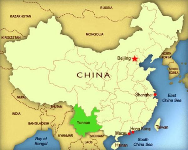 mappa dello Yunnan