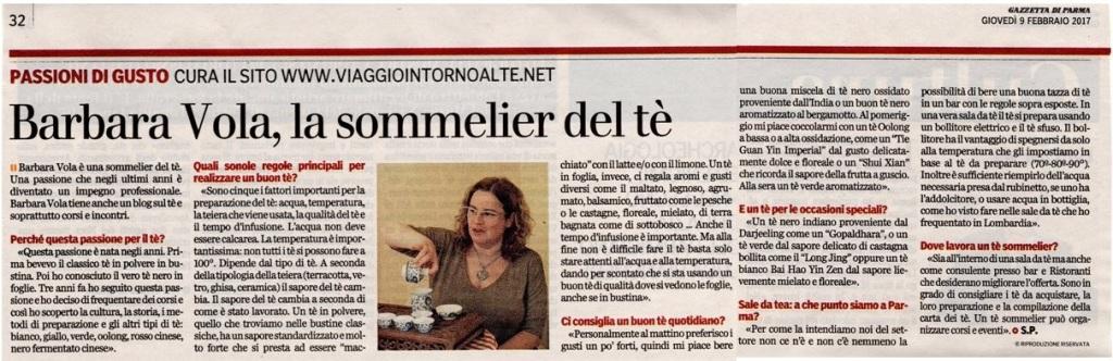 Viaggio intorno al tè intervista per la Gazzetta di Parma rubrica Gusto 9 feb 2017