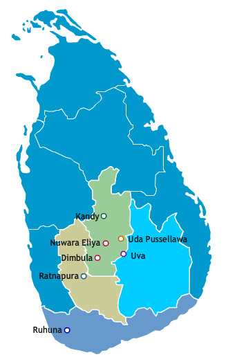 Sri Lanka Tea Map