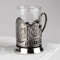 Russian Crest Tea Glass Holder Set