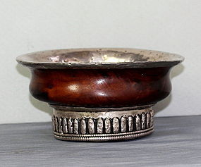 Tibetan Silver and Burl Wood Tea Bowl