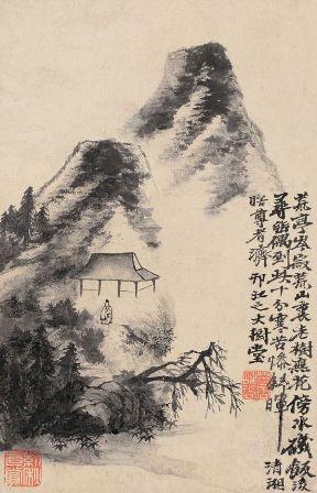dipinto cinese con montagne e capanna - copia