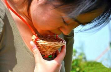 le foglie vengono fatte cadere nella piccola cesta